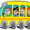 Cartoon school bus with kids