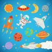 set of cartoon cute outer space astronaut, planets, rockets. vector illustration